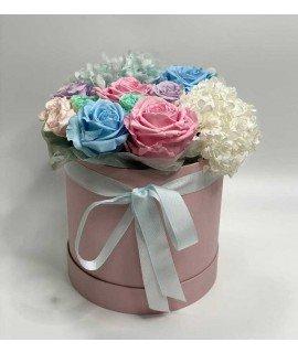 """Шляпная коробка """"Гортензия и розы"""""""