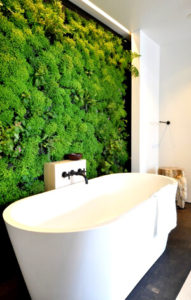 Стабилизированный мох в ванной: фото