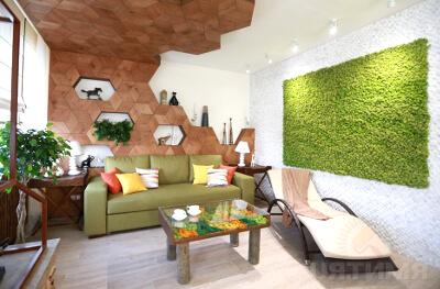 Стабилизированный мох на стене: фото