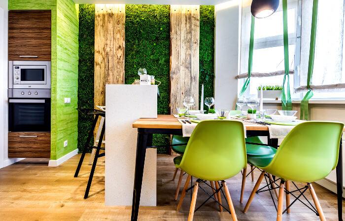 Озеленение кухни стабилизированным мхом