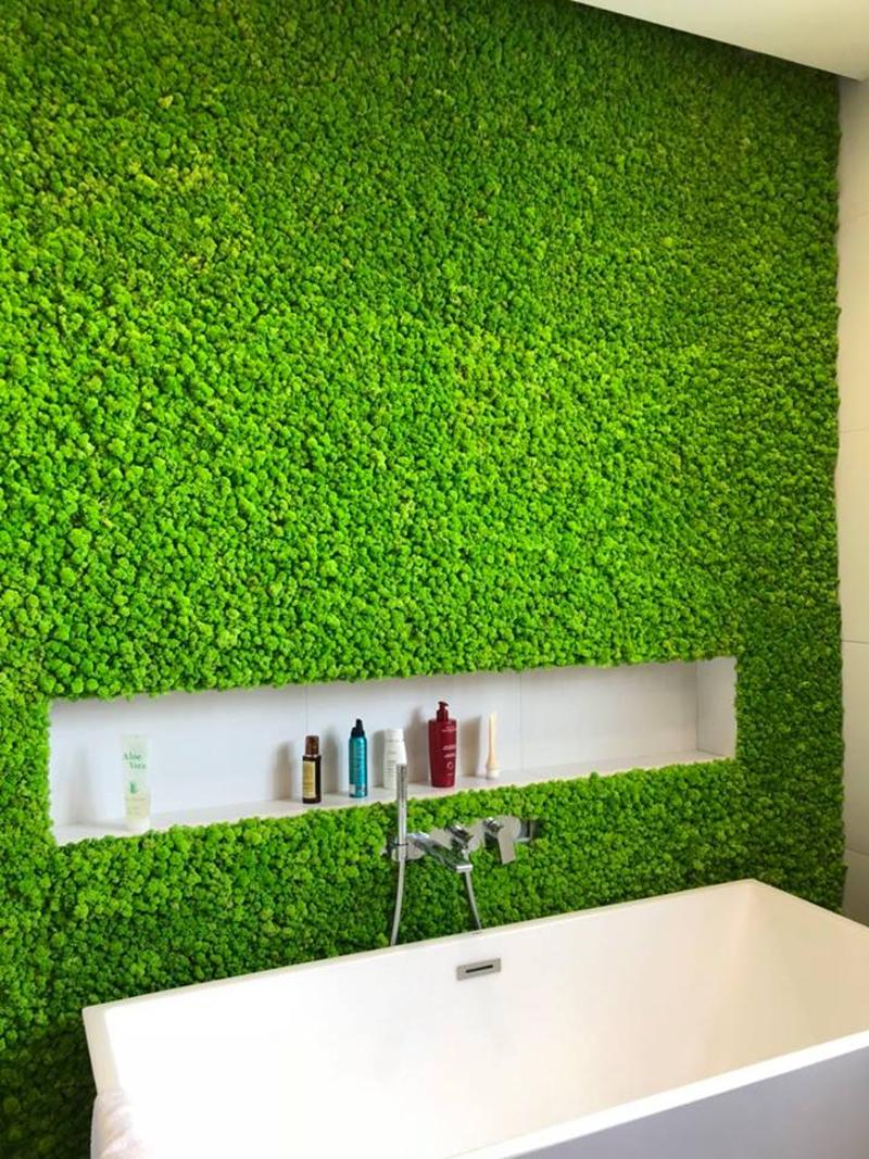 Озеленение мхом ванной комнаты