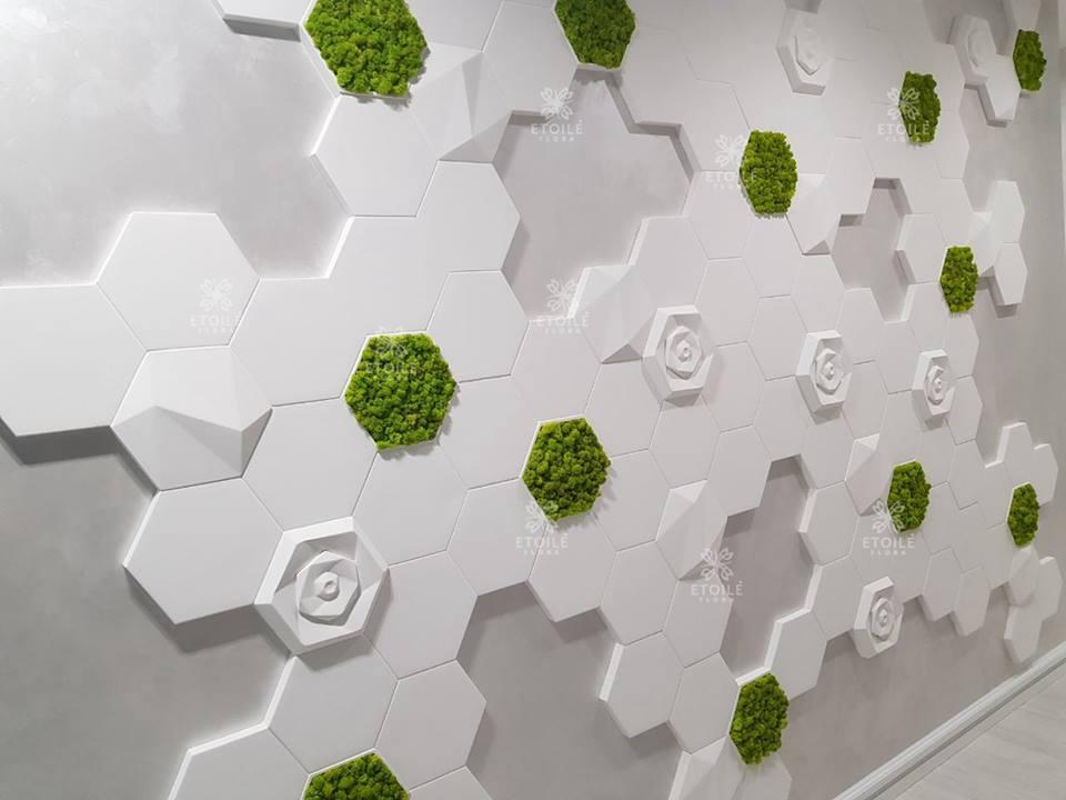 Вертикальное озеленение плитка + мох